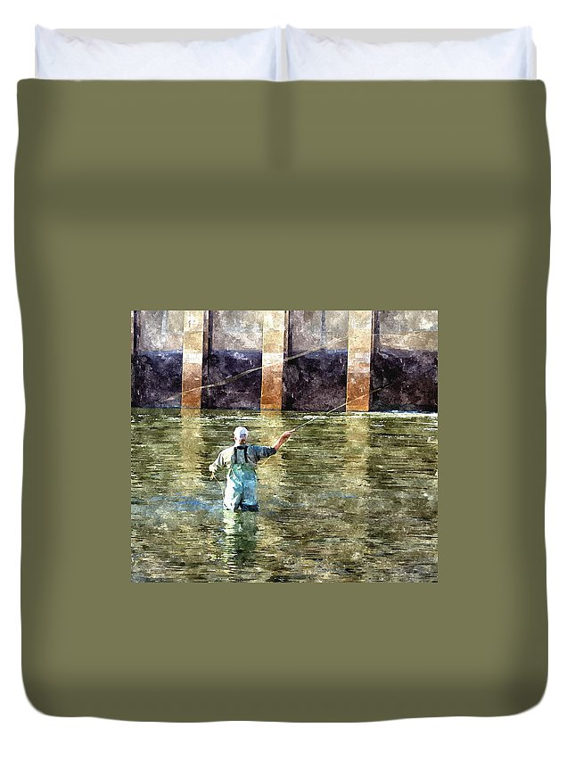 Fly Fishing Duvet Cover featuring the digital art Concentration by Harry Tart