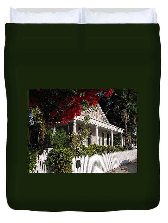 Photography Duvet Cover featuring the photograph Conch House In Key West by Susanne Van Hulst