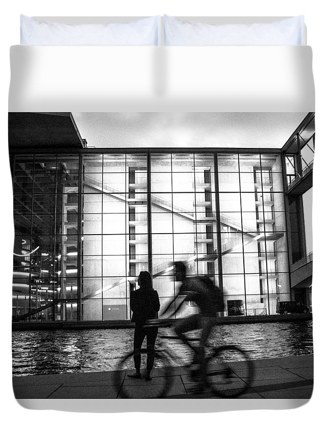 Berlin Duvet Cover featuring the photograph Concrete And Glass by Peteris Vaivars