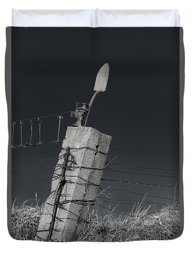 Concrete Cement Fence Post Field Farm Shovel Barbed Wire Black White Monochrome Duvet Cover featuring the photograph Concrete Post No 1 7257 by Ken DePue
