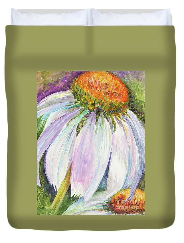 Coneflower Duvet Cover featuring the painting Coneflower by Nadine Rippelmeyer