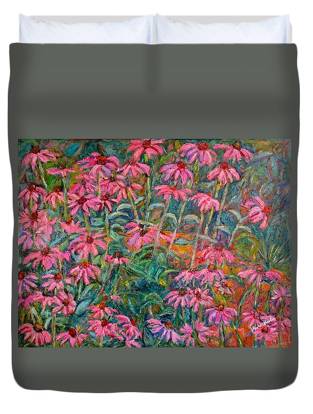 Kendall Kessler Duvet Cover featuring the painting Coneflowers by Kendall Kessler