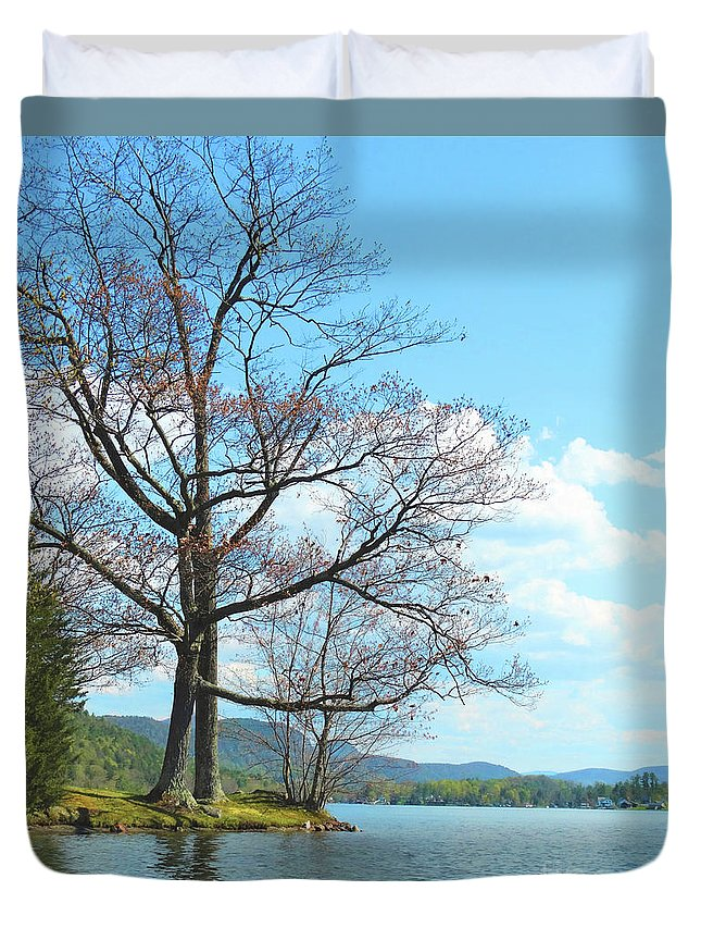 Cone's Point Lake St Catherine Poultney Wells Vermont Duvet Cover featuring the photograph Cone's Point by Karen Velsor
