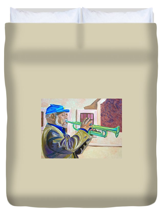 Street Musician Duvet Cover featuring the painting Confederate Bugular by Michael Lee
