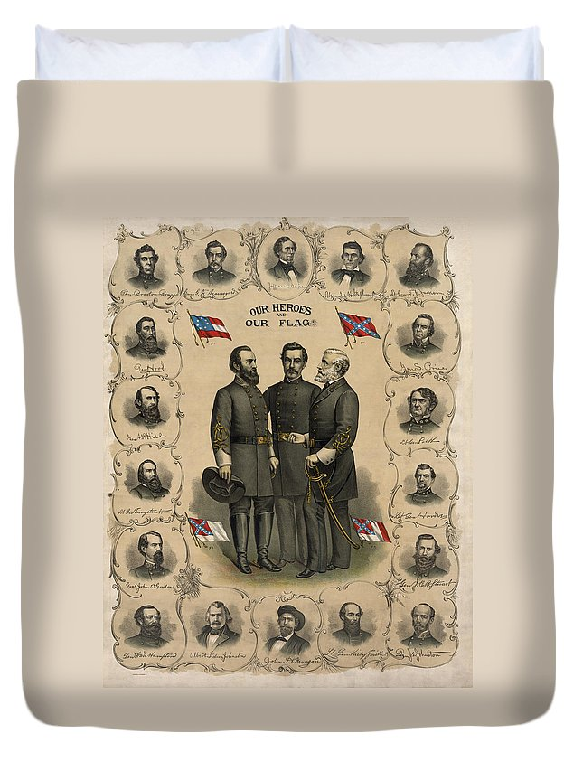 Confederate Duvet Cover featuring the painting Confederate Generals Of The Civil War by War Is Hell Store
