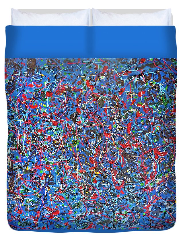 Abstract Duvet Cover featuring the painting Confetti by Ericka Herazo
