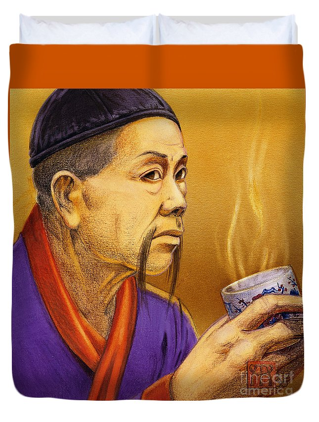 Oriental Duvet Cover featuring the painting Confucian Sage by Melissa A Benson