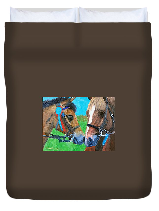Horses Duvet Cover featuring the painting Congratulations by Michael Lee