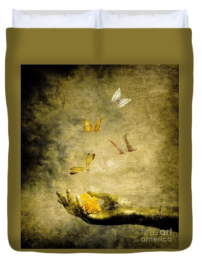 Inspirational Duvet Cover featuring the painting Connect by Jacky Gerritsen
