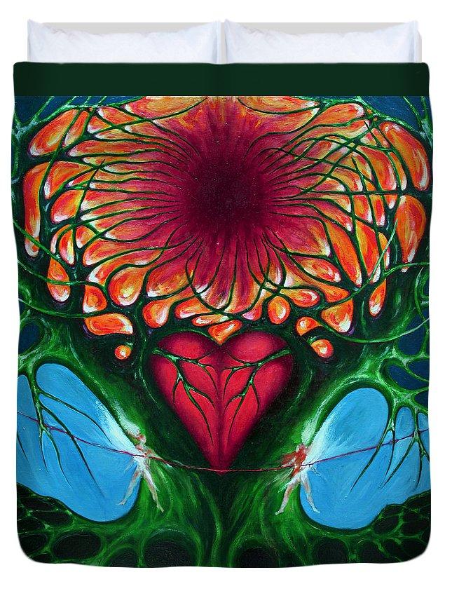 Colour Duvet Cover featuring the painting Connection - Separation by Wojtek Kowalski