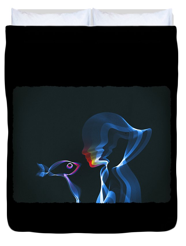 Waves Duvet Cover featuring the digital art Connection by Mustafa Akgul
