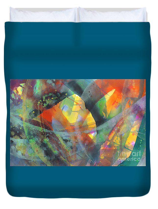 Abstract Duvet Cover featuring the painting Connections by Lucy Arnold
