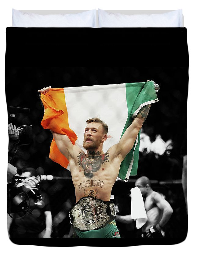 Conor Mcgregor Duvet Cover featuring the mixed media Conor Mcgregor 2b by Brian Reaves