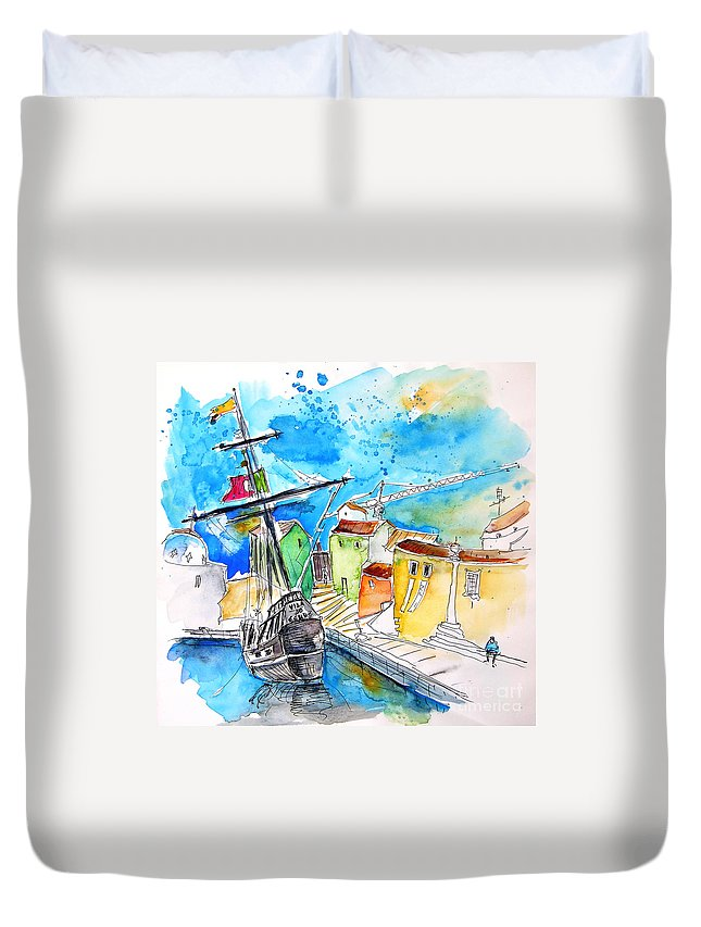 Portugal Duvet Cover featuring the painting Conquistador Boat In Portugal by Miki De Goodaboom