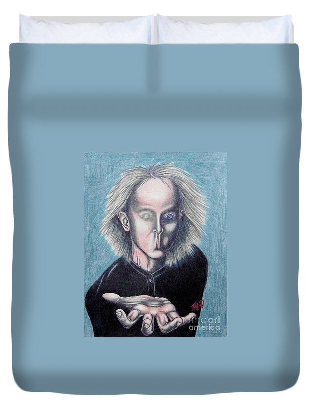 Tmad Duvet Cover featuring the drawing Consciousness by Michael TMAD Finney