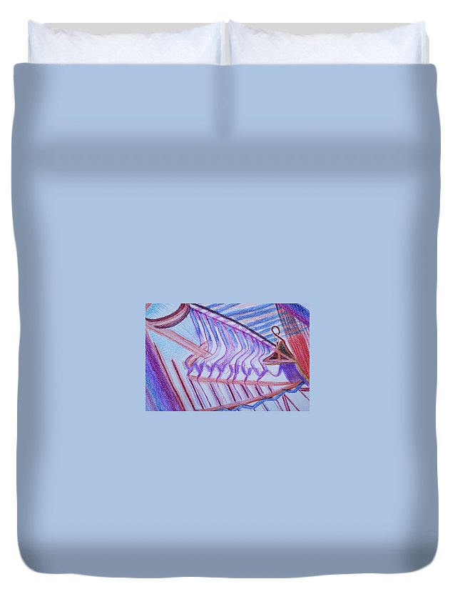 Abstract Duvet Cover featuring the painting Construction by Suzanne Udell Levinger