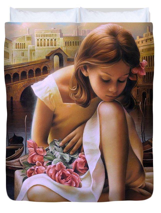 Portrait Duvet Cover featuring the painting Consuelo by Arthur Braginsky