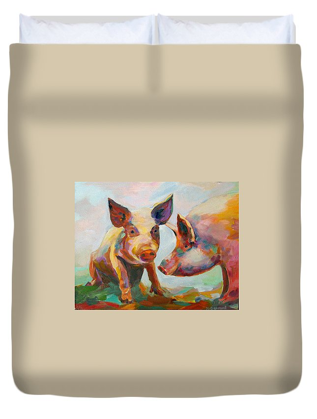 Pigs Duvet Cover featuring the painting Consultation by Naomi Gerrard