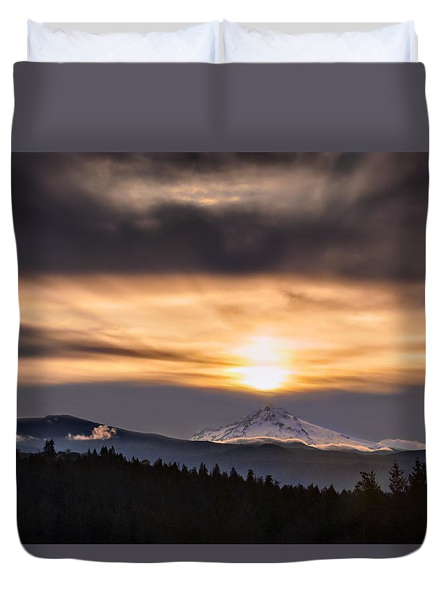 Mountain Duvet Cover featuring the photograph Contact by John Christopher