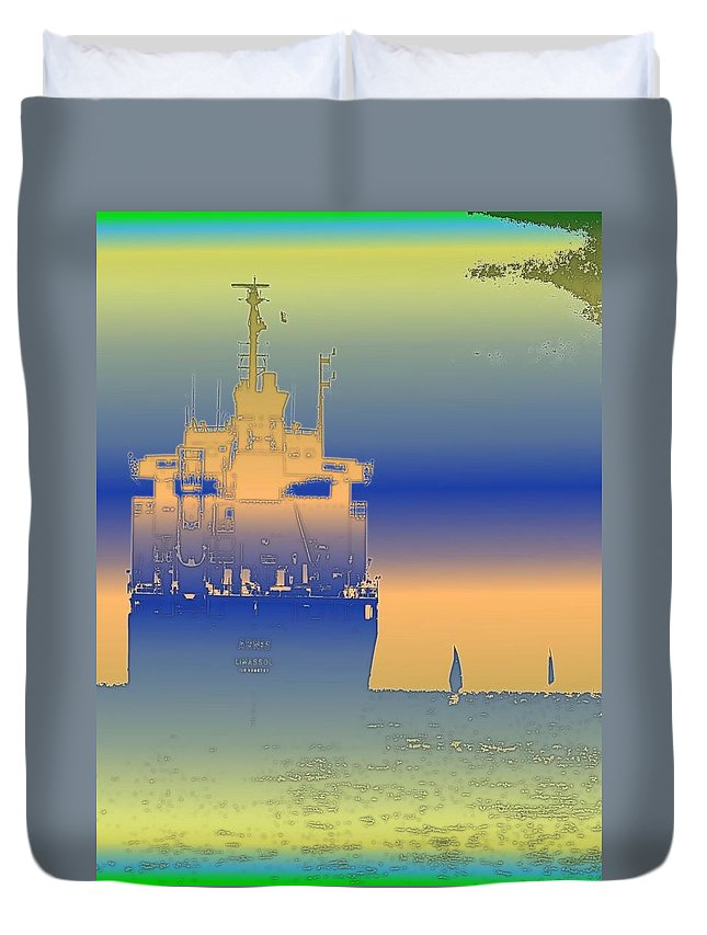 Puget Sound Duvet Cover featuring the photograph Container Sail 2 by Tim Allen