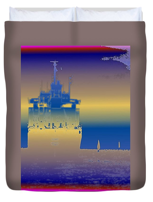 Puget Sound Duvet Cover featuring the photograph Container Sail 3 by Tim Allen
