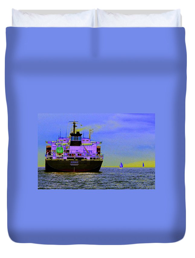 Seattle Duvet Cover featuring the photograph Container Sail by Tim Allen