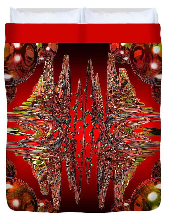 Abstract Art Duvet Cover featuring the digital art Containment Field-red by Mark W Ballard