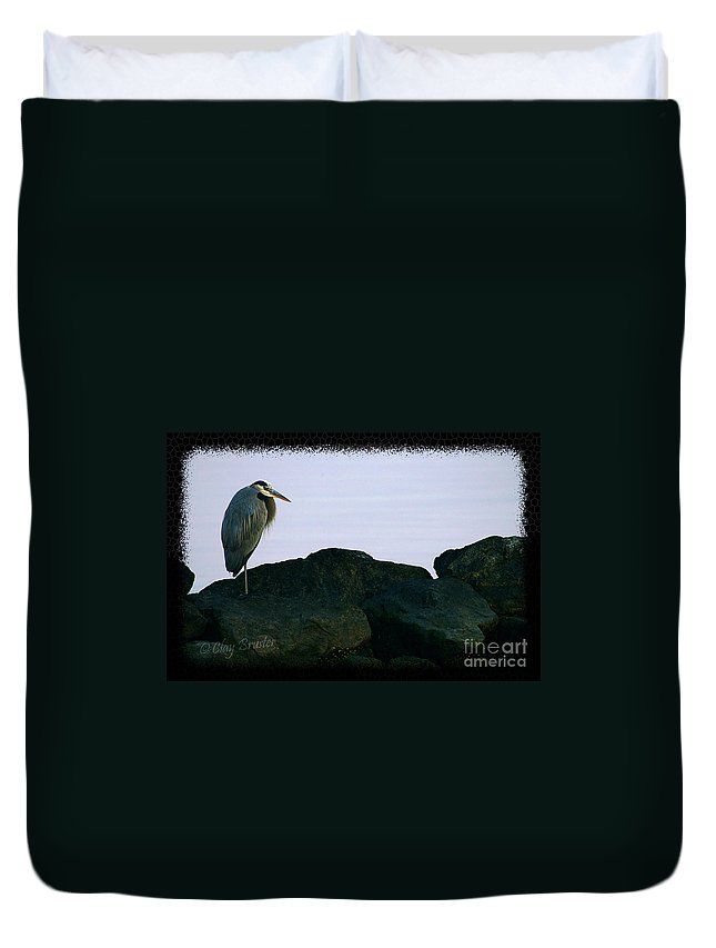 Clay Duvet Cover featuring the photograph Contemplating Heron by Clayton Bruster