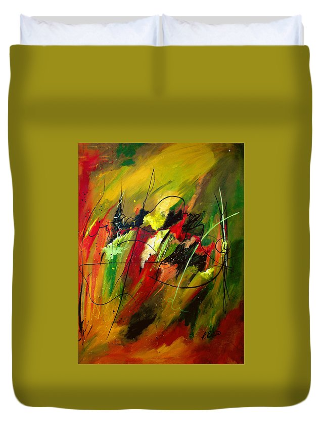 Abstract Duvet Cover featuring the painting Contemplating Perseverance by Ruth Palmer
