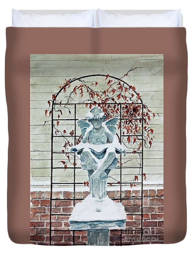 A Statue Of A Fairy Perched On A Pedestal Is Reading A Snow Covered Book In Her Lap. An Arbor Of Vines Is Shown Against The Exterior Of A Home In The Background. Duvet Cover featuring the painting Contemplation Of Winter by Monte Toon