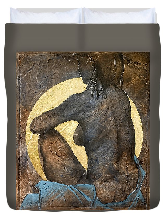 Nude Duvet Cover featuring the painting Contemplation by Richard Hoedl