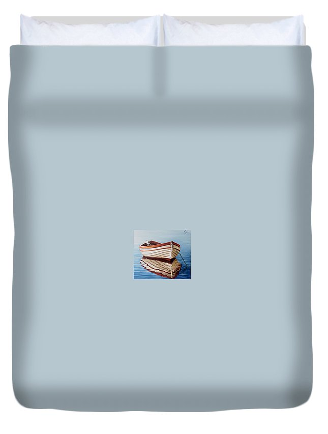 Sea Seascape Boat Reflections Water Ocean Seagull Bird Duvet Cover featuring the painting Contemplative by Natalia Tejera