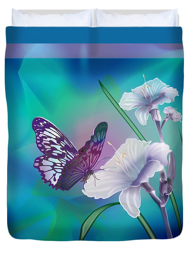 Contemporary Art By Gina Femrite Duvet Cover featuring the painting Contemporary Painting Of A Dancing Butterfly by Regina Femrite