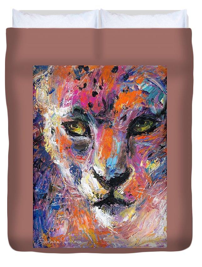 Wildlife Painting Duvet Cover featuring the painting contemporary Wildlife painting cheetah leopard by Svetlana Novikova