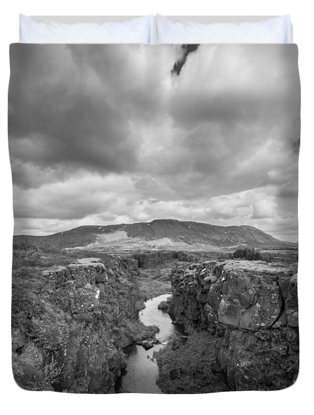 Pingvellir Duvet Cover featuring the photograph Continental Drift Bw by Michael Ver Sprill