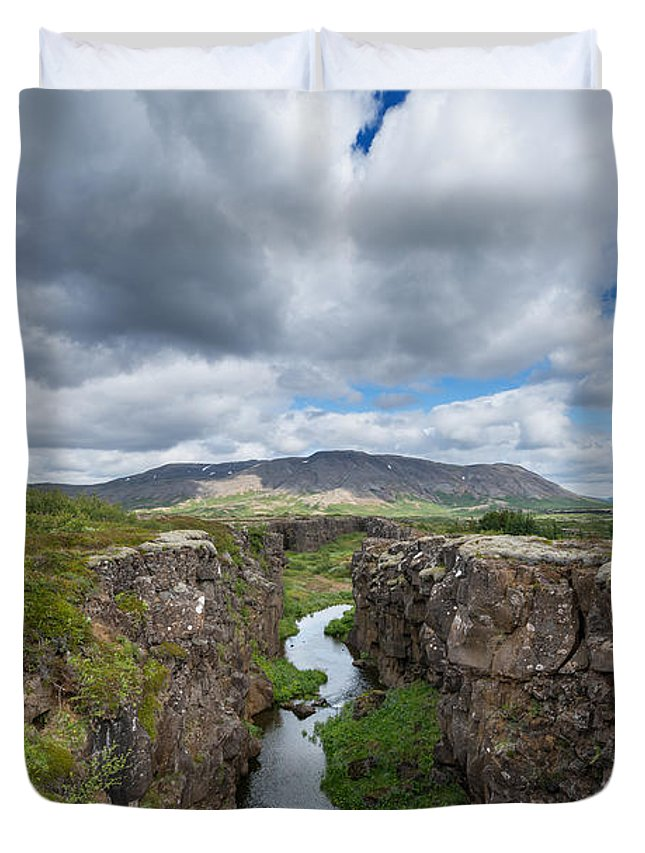 Pingvellir Duvet Cover featuring the photograph Continental Drift by Michael Ver Sprill