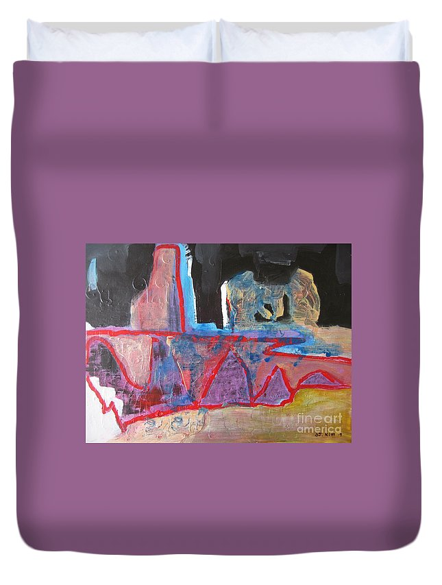Abstract Paintings Duvet Cover featuring the painting Contradiction Of Time by Seon-Jeong Kim