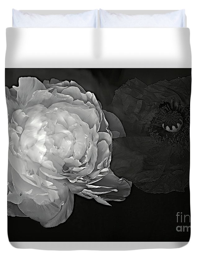 Peony Flower Duvet Cover featuring the photograph Contrasts In Floral Kingdom In Black And White. by Alexander Vinogradov