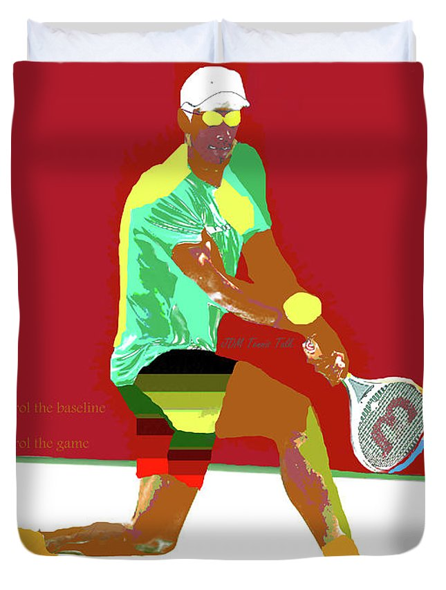 Tennis Duvet Cover featuring the digital art Control The Baseline 1 by JeanDarcel Michel