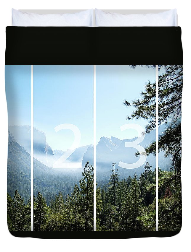 El Capitan Duvet Cover featuring the digital art Controlled Burn Of Yosemite Panoramic Map by Michael Bessler