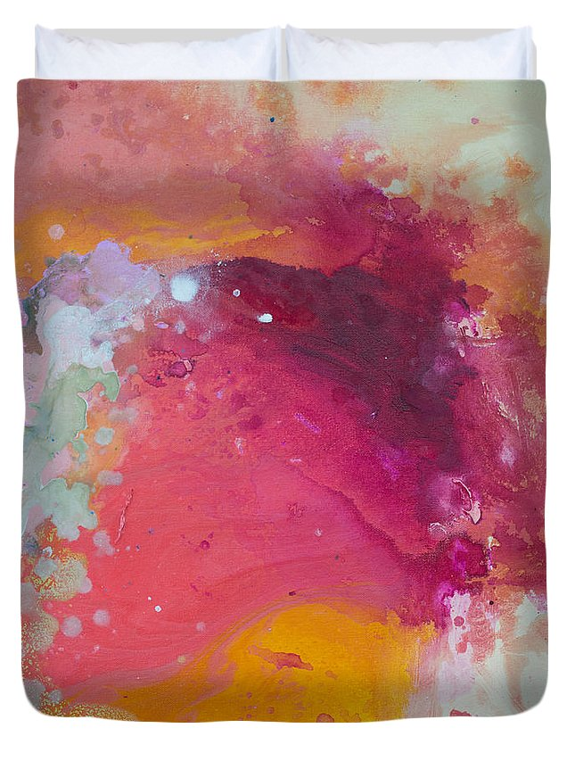 Abstract Duvet Cover featuring the painting Controlled Chaos by Claire Desjardins