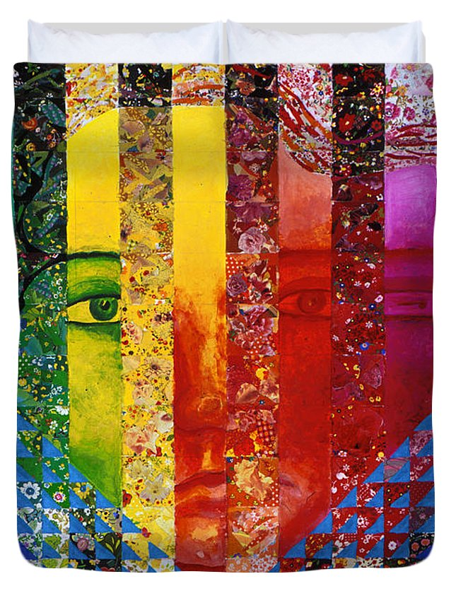 Colorful Duvet Cover featuring the mixed media Conundrum I - Rainbow Woman by Diane Clancy