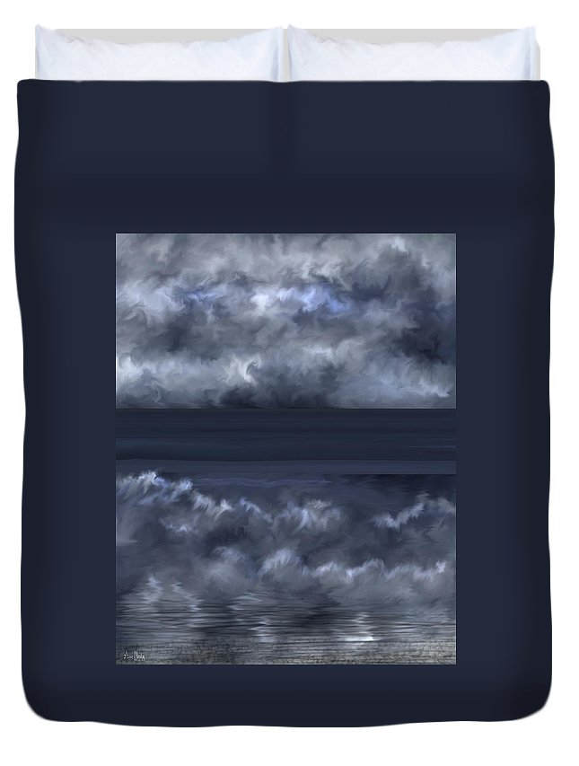 Seascape Duvet Cover featuring the painting Convergence Zone by Anne Norskog