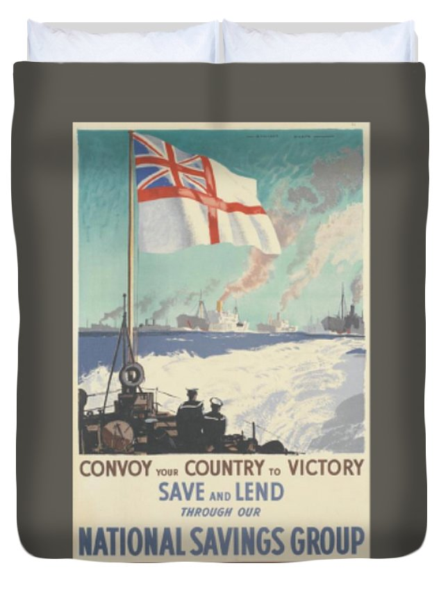 Flag Duvet Cover featuring the digital art Convoy Your Country To Victory by Frederick Holiday