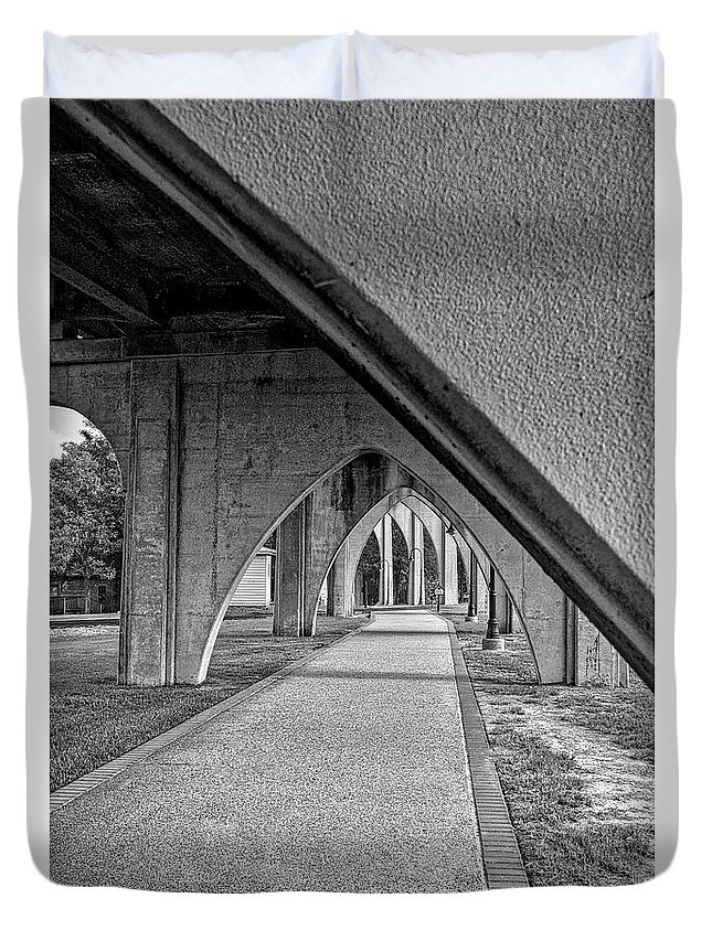 Architecture Duvet Cover featuring the photograph Conway River Walk Black And White by Kathy Baccari