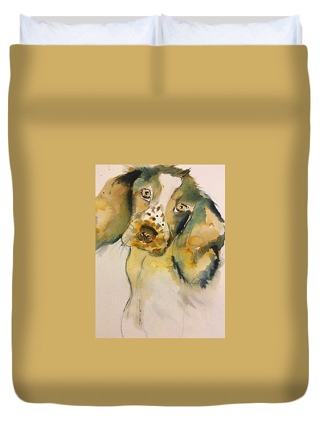 Dog Duvet Cover featuring the painting Cookie by LJ Claudet