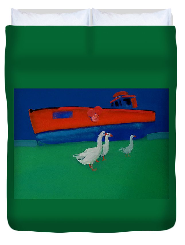 Geese Duvet Cover featuring the painting Cool And Dry by Charles Stuart
