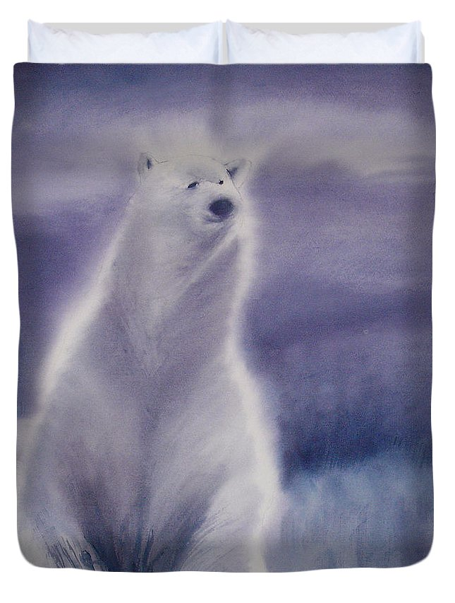 Bear Duvet Cover featuring the painting Cool Bear by Allison Ashton