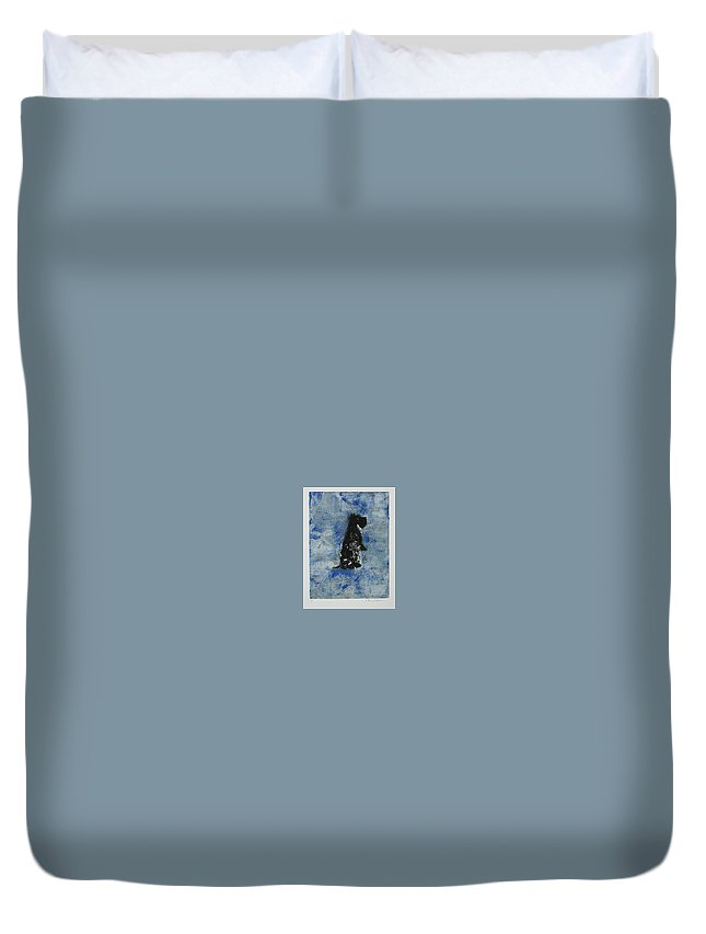 Monotype Duvet Cover featuring the mixed media Cool Blue by Cori Solomon