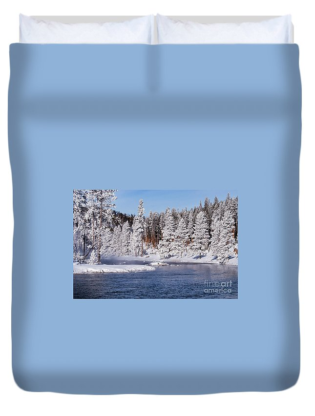 Yellowstone National Park Duvet Cover featuring the photograph Cool by Bob Phillips